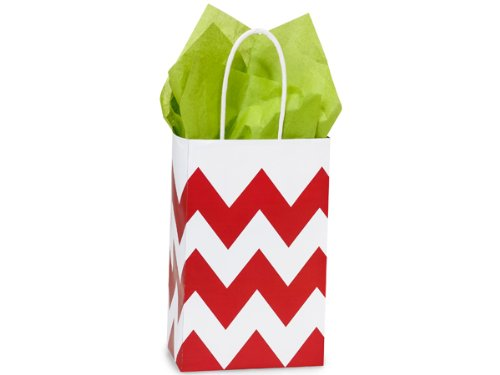 Red & White Chevron Small Shopper Gift Bags - Quantity Of 25 front-347657