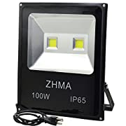 ZHMA 100W LED Flood Lights, Outdoor light with 2X50W Sufficient Wattage LED CHIP Floodlight With US 3-Plug,250W HPS Bulb Equivalent,Daylight White, 6000K, Waterproof Security Lights
