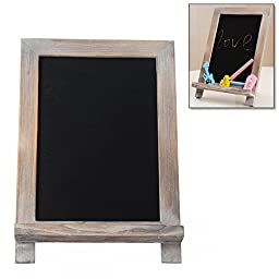 10 Inch Mini Rustic White-Washed Brown Wood Easel Style Chalkboard / Tabletop Memo Sign with Chalk Tray