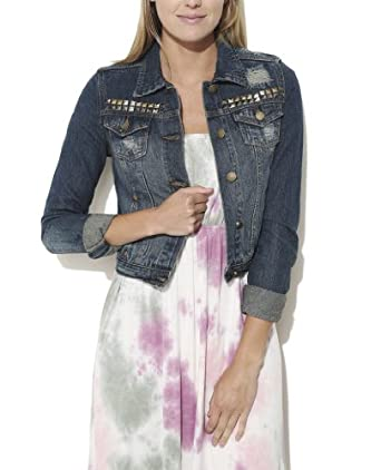 Wet Seal Women's Studded Full Length Denim Jacket XL Dk Sndblstd
