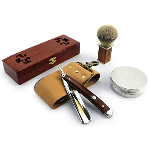 AP-Donovan-Excellent-straight-razor-78-cut-throat-Razor-Set-Mahogany-Complete