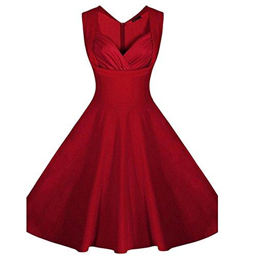 Women V-neck Sleeveless Slim Pleated Swing 1950's Vintage Dress (Fancy Dress Uk)
