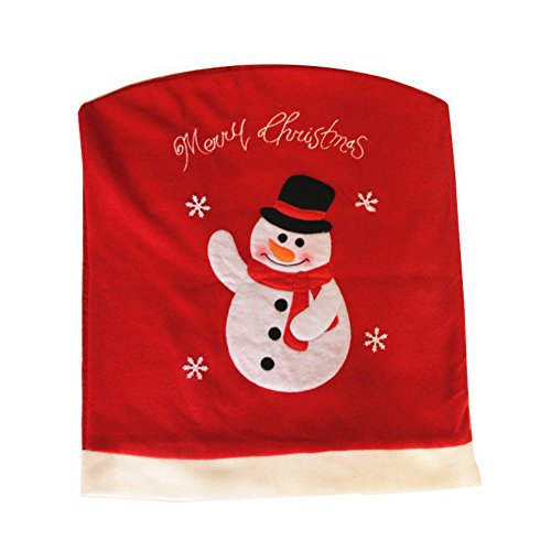 Red Chair Back Snowman Cover Christmas