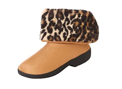 Isotoner Women's Microsuede Boot Slippers with Cheetah Cuff (Small - 6.5-7, Buckskin)