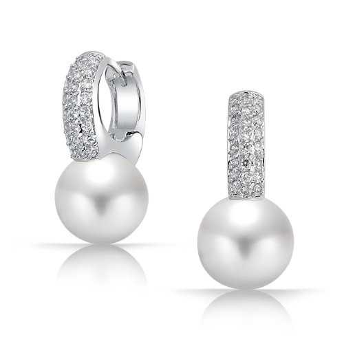 Bling Jewelry Silver Tone Round White South Sea Shell Pearl CZ Huggie Hoop Earrings