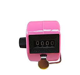 Jackie Hand Held Pink Tally Counter 4 Digit Mechanical Palm Clicker Counter