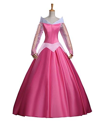 cosrea Disney Dornröschen, Aurora Classic Satin Kleid Cosplay Kostüm
