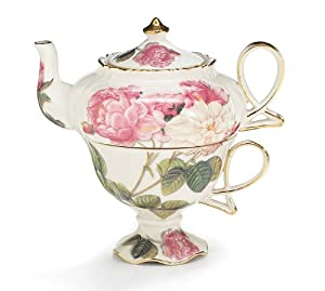 Elegant Romantic Rose Victorian Porcelain Teapot And Teacup Duo Beautiful Gift Item by Romantic Rose Collection