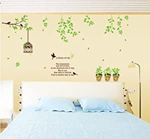 ufengke® Dream Garden Green Tree Branches Birdcage Birds and Potted Plant Wall Decals, Living Room Bedroom Removable Wall Stickers Murals by Ufingo