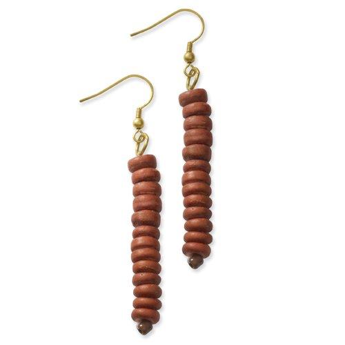 Gold-Tone Orange Coconut Bead 2.75in Dangle Earrings
