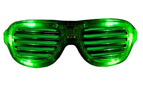 Green LED Flashing Shutter Slotted Shade Party Dance Spirit Sun Glasses