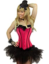 Yummy Bee Burlesque Corset & Tutu or Lace Skirt or Frilly Skirt Costume Ladies Deluxe Fancy Dress Plus Size 6-24 Blue Red Purple Pink Black (Women: 16-18, Pink + Tutu)