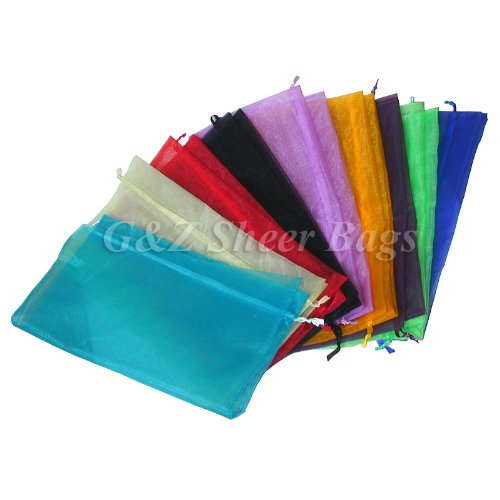 17 x 17 inch Large Sheer Drawstring Organza Gift Pouch (1 Dozen Diamond Blue)