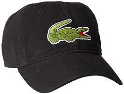Lacoste Men\'s Classic Large Croc Gabardine Cap, Black, One Size
