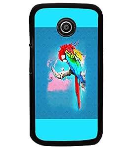 PrintDhaba Parrot D-5964 Back Case Cover for MOTOROLA MOTO E (Multi-Coloured)