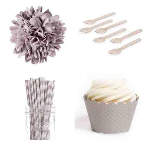 Dress My Cupcake Dmc1040K Standard Table Party Bundle In Grey