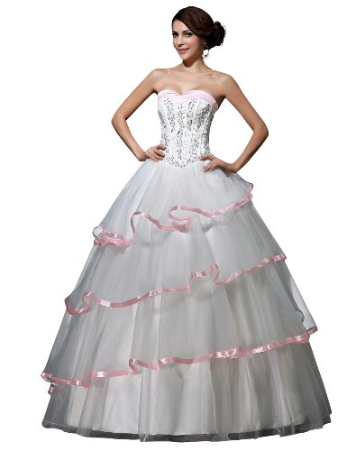 JOLLY BRIDAL Tulle Off-Shoulder Ball Gown Wedding Dress, White, Size 4