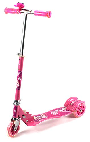 Urban Rider Children'S Three Wheeled Metal Toy Kick Scooter W/ Light Up Wheels, Handlebar Bell (Pink)