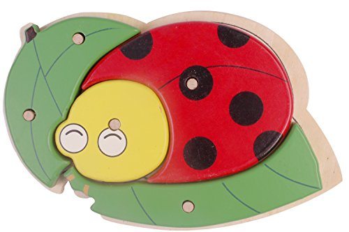 PIGLOO Animal Knob Puzzle Shape Matching Wooden Toy for Kids Ages 3+ Years Ladybug