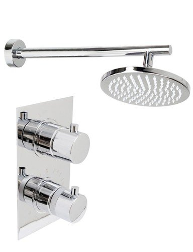Thermostatic Shower Mixer Round Chrome Plated shower head kit