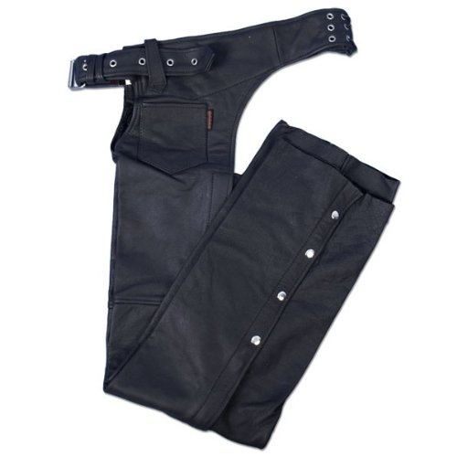 Hot Leathers Leather Chaps (Black, XX-Large)