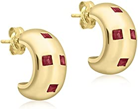Carissima Gold 9 ct Yellow Gold 4 Stone Ruby Half Hoop Earrings
