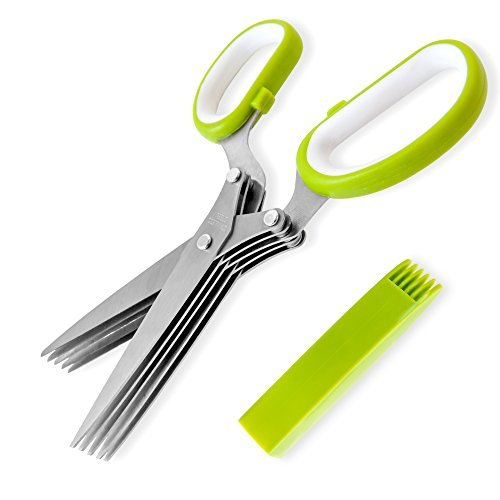 Jenaluca Herb Scissors Stainless Steel – Multipurpose Kitchen Shear with 5 Blades and Cover with Cleaning Comb