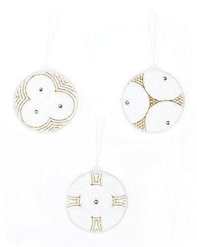 Spitze Plauner 7 centimetri Sfera dell'albero di Natale appendiabiti e cristalli Swarovski che decorano l'albero di Natale, set di 3