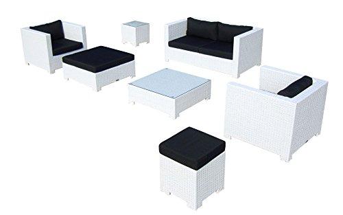 Baidani Gartenmöbel-Sets 10c00034 Designer Lounge Sunrise, 2-er Sofa, 2 Sessel, 2 Hocker, 1 Couchtisch, Beistelltisch mit Glasplatte, weiß