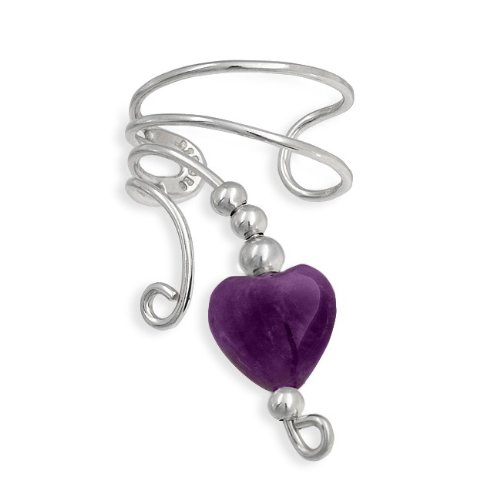 Bling Jewelry Amethyst Gemstone Heart Ear Cuff Left Ear 925 Sterling Silver