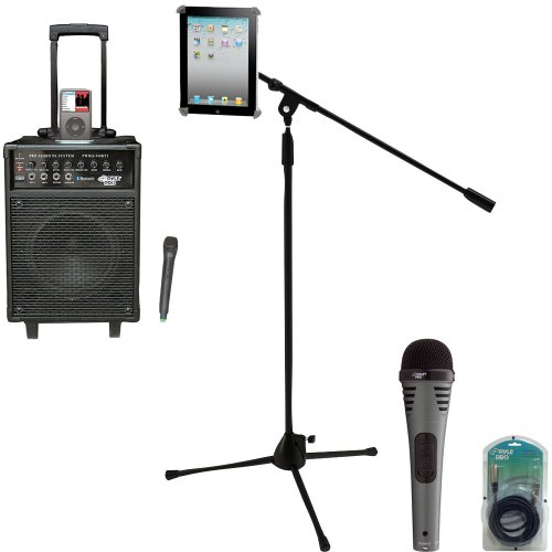 Pyle Speaker, Mic, Cable And Stand Package - Pwma940Bti 600 Watts Vhf Wireless Portable Pa System W/Microphone,I-Pod Dock & Bluetooth - Pdmik2 Professional Moving Coil Dynamic Handheld Microphone - Pmkspad1 Multimedia Microphone Stand With Adapter For Ipa