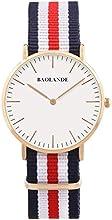 Comprar Alienwork Classic St.Mawes Reloj cuarzo elegante cuarzo moda diseño atemporal clásico Nylon oro rosa azul U04820L-02