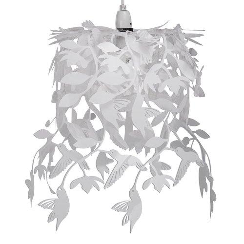 Paralume bello, bianco e sospeso per lampada a sospensione nello stile lampadario con colibrì