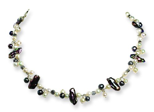 Sterling Silver Peacock/White Freshwater Cultured Pearl Necklace