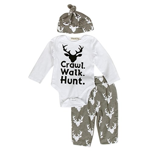 [FEITONG Newborn Infant Baby Boy's Print Romper Tops+Long Pants +Hat (6-12 Months)] (Baby Designer Clothes)