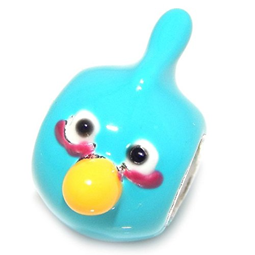 925 Solid Sterling Silver Blue Angry Bird Charm Bead