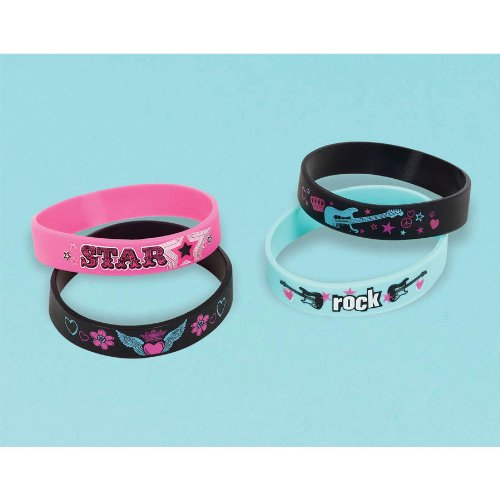 Rocker Girl Rubber Bracelets 4ct - 1