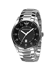 Emporio Armani Silver Stainless Band Black Dial - Men's Watch AR5863
