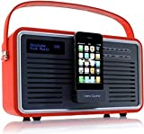 View Quest PF RETRO DAB RADIO WITH iDOCK AUX IN RED