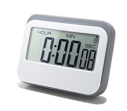 LeisureLife - Multifunction Large LCD Display Digital Timer. 3 mode - Clock,Countup,Countdown. Accurate to seconds. For Cooking,Study,Games (grey) (Digital Desk Timer compare prices)