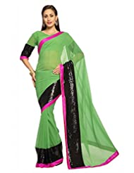Designersareez Women Faux Georgette Embroidered Paris Green Saree With Unstitched Blouse(1488)