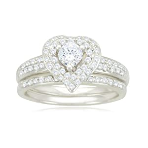 14k White Gold Heart Diamond Bridal Ring Set