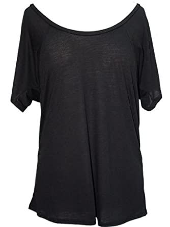 YogaColors Crystal Flowy Raglan Dolman Scoop Neck Tee Top (Small, Black)