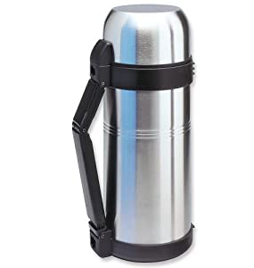 Isosteel VA-9560WQ Vakuum-Isolierflasche 1,5 L mit extragroßer Einfüllöffnung aus doppelwandigem 18/8 Edelstahl mit Quickstop-Einhandausgießsystem und Klappgriff