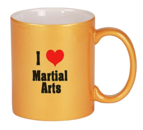 I Love/Heart Martial Arts Coffee Mug Metallic Gold 11 oz