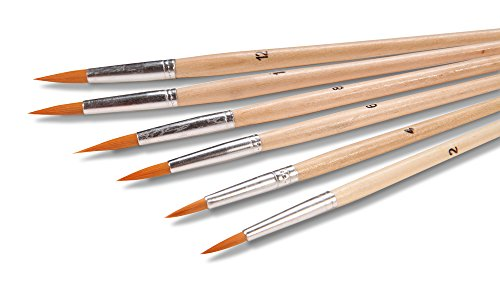 Artist Paint Brush Set (6 Pc. Fine Tip Round Point) for Acrylic, Oil or Watercolor- Assorted Sizes