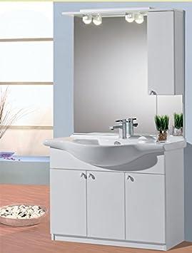 Mistermoby Mobile Bagno con Base a 3 Ante Lavabo Specchiera Luci e Pensile Consolle Colore Bianco da 105 Centimetri