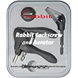Metrokane Rabbit Corkscrew with Houdini Aerating Pourer and Bonus Replacement Worm- Black