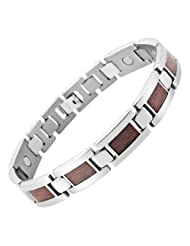 Willis Judd Mens Titanium Magnetic Bracelet With Wooden Inserts in Black Velvet Gift Box + Free Link Removal Tool