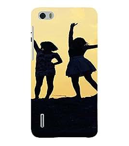 PrintVisa Girls Silhouette Design 3D Hard Polycarbonate Designer Back Case Cover for Huawei Honor 6